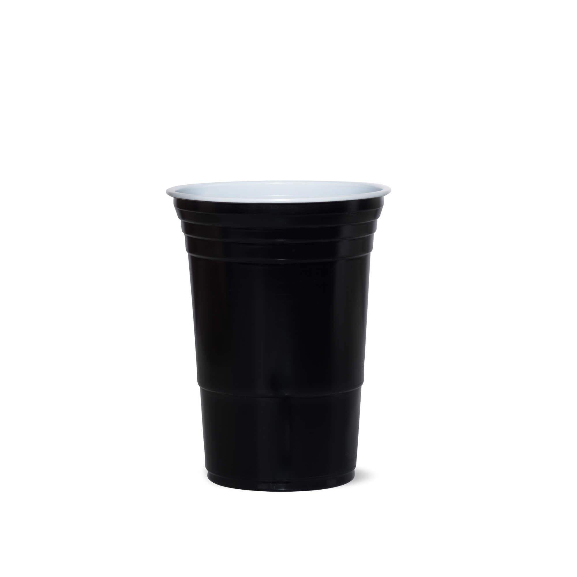 black plastic cup