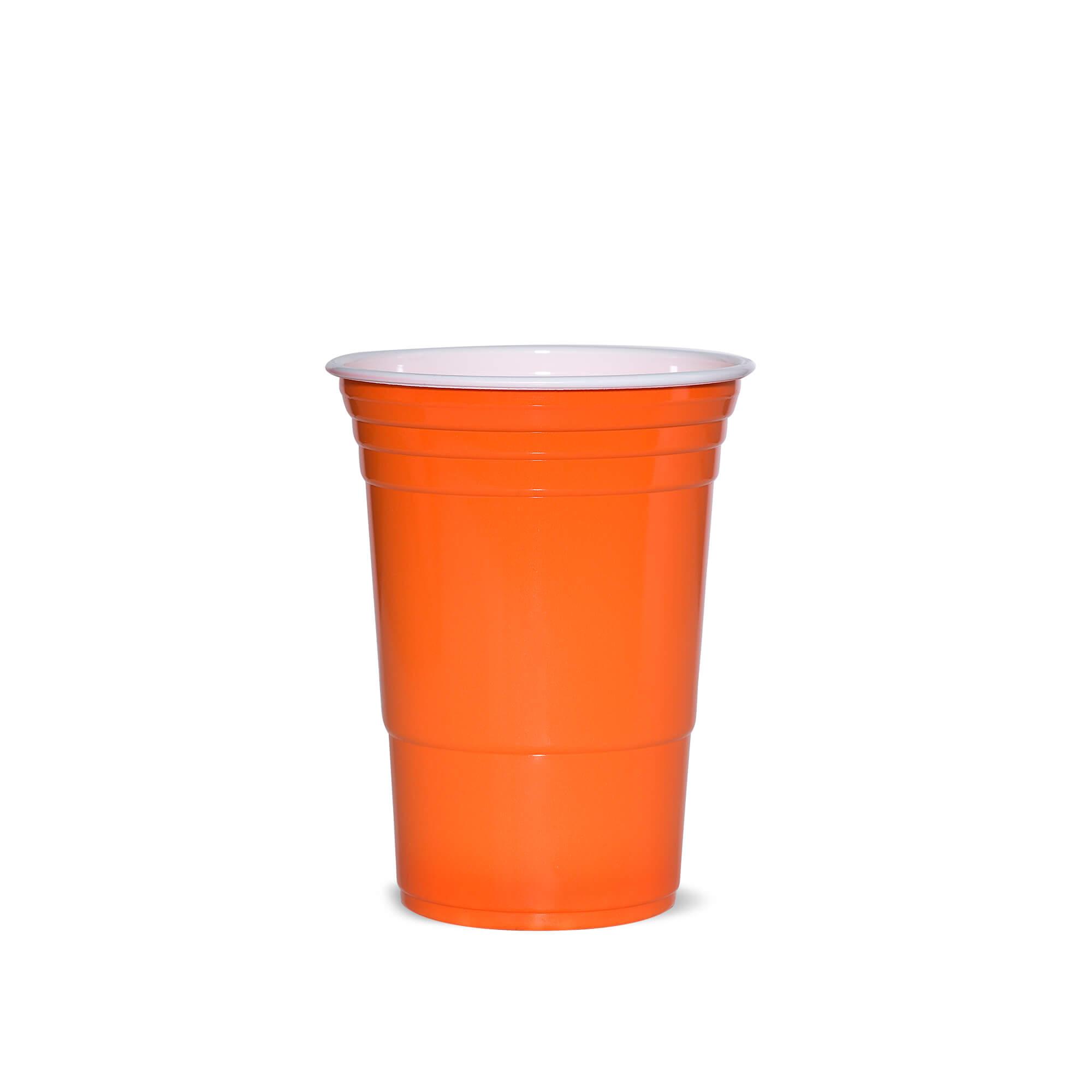 orange plastic cup
