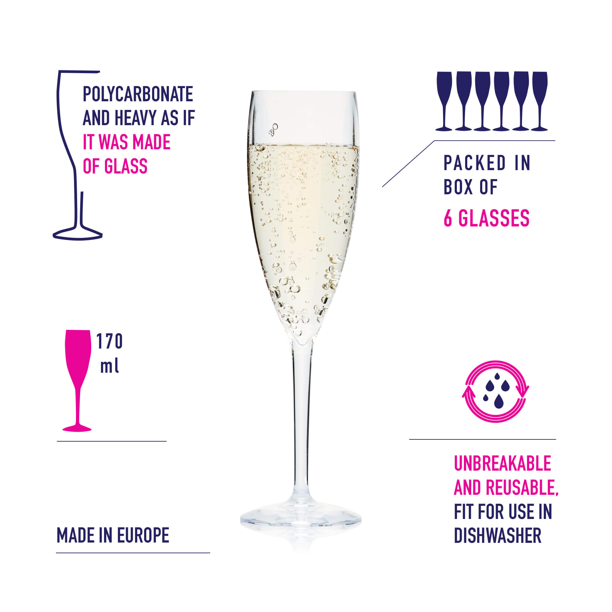 recyclable champagne flute