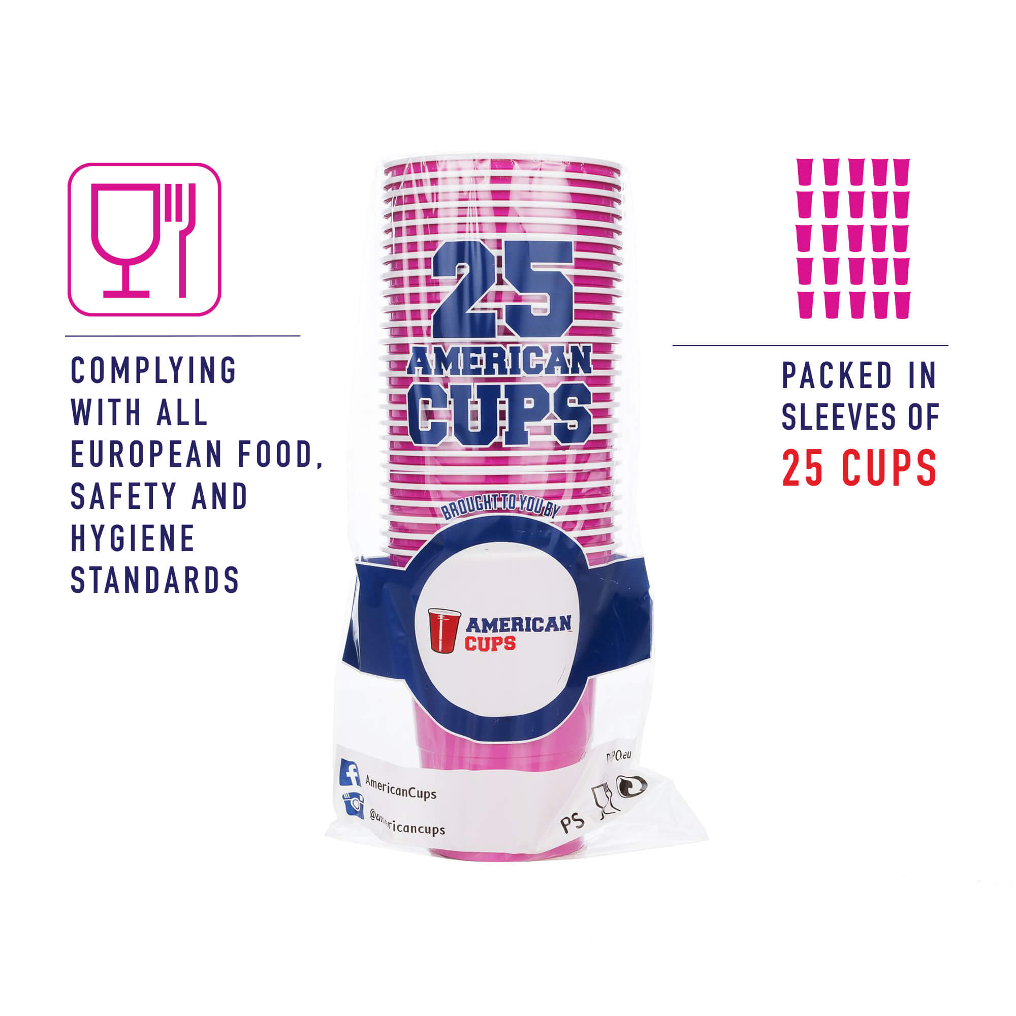 pink plastic cups pack