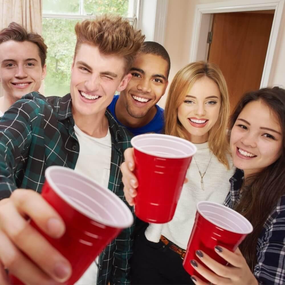 golden plastic party cups